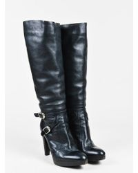 Gianvito Rossi - Black Leather Buckled Knee High Platform Boots Sz 37 - Lyst