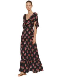 Borgo De Nor - Ophelia Bouquet Print Silk Long Dress - Lyst