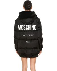 Moschino - Hooded Nylon Logo Printed Down Coat - Lyst