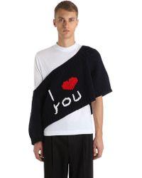 "Raf Simons - Oversized Sweater Aus Wollstrick ""i Love You"" - Lyst"