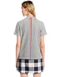 Thom Browne - Back Stripe Cotton Piqué T-shirt - Lyst
