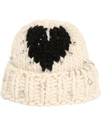 Maria Francesca Pepe - Heart Wool Knit Beanie With Piercings - Lyst