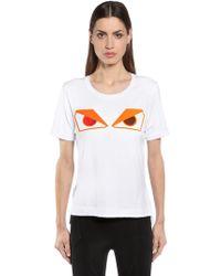 Fendi - Monster Eyes Patch Cotton Jersey T-shirt - Lyst