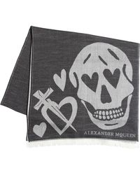 Alexander McQueen - Heart & Skull Wool Blend Jacquard Scarf - Lyst