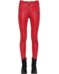 Unravel | Lace-up Stretch Leather Leggings | Lyst