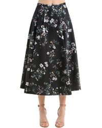 Rochas - Floral Printed Duchesse Satin Midi Skirt - Lyst
