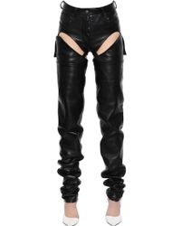 "Y. Project - Pantaloni ""transformer"" In Pelle Dettagli Cut Out - Lyst"