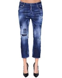 DSquared² - Cool Girl Cropped Destroyed Denim Jeans - Lyst