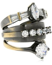 Iosselliani - Stacked Ring W/ Crystals - Lyst