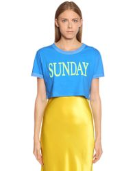 Alberta Ferretti - Sunday Cotton Jersey Cropped T-shirt - Lyst