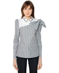 Vivetta - Striped Cotton Poplin Shirt W/ Bow - Lyst