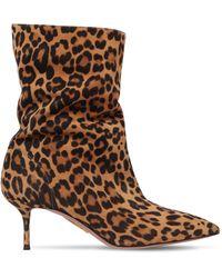Aquazzura - 60mm Leopard Print Leather Ankle Boots - Lyst