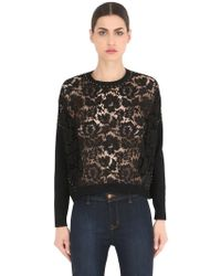 Valentino - Studded Lace & Knit Jumper - Lyst