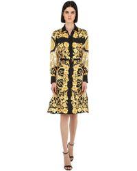 Versace Vestido Camisa De Sarga De Seda Estampado