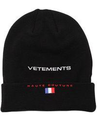 Vetements | Black Reebok Edition 'haute Couture' Beanie | Lyst
