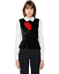 Vivetta - Flower Velvet & Cotton Poplin Top - Lyst