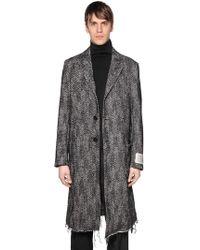 DIESEL - Oversized Wool Herringbone Raw Cut Coat - Lyst