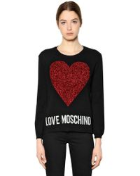 Love Moschino   Heart Patch Knit Sweater   Lyst