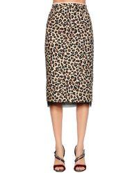 N°21 - Animalier Cotton Canvas Pencil Skirt - Lyst