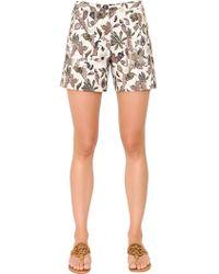 Tory Burch - Printed Wool & Silk Mikado Blend Shorts - Lyst