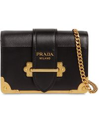 Prada - Small Cahier Leather Shoulder Bag - Lyst