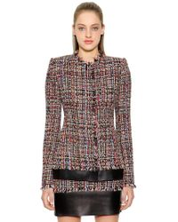 Alexander McQueen - Light Tweed Jacket W/ Leather Details - Lyst