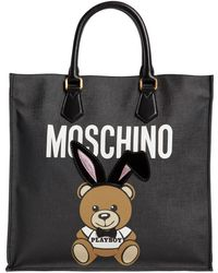 Moschino - Teddy Playboy Faux Leather Tote Bag - Lyst