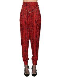 Alessandra Rich - Leopard Silk Jacquard Harem Trousers - Lyst