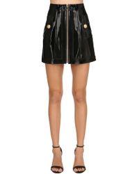 Balmain - Patent Leather Mini Skirt - Lyst