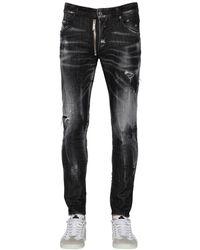 """DSquared² 16cm Jeans Aus Baumwolldenim Mit Zip """"skater"""" - Schwarz"""