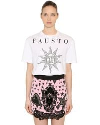 Fausto Puglisi - Printed Cotton Jersey T-shirt - Lyst