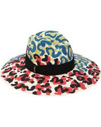Borsalino - Leopard Hand Painted Straw Hat - Lyst