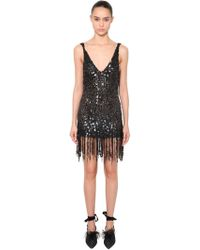 Attico - Sequined Mini Dress With Fringe - Lyst