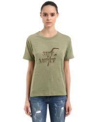 Saint Laurent - Logo Printed Cotton Blend Jersey T-shirt - Lyst
