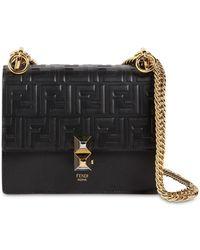 Fendi - Small Kan I Logo Embossed Leather Bag - Lyst