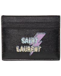 Saint Laurent - Lightening Printed Leather Card Holder - Lyst
