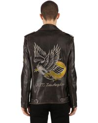 HTC Hollywood Trading Company - Eagle Vintage Leather Biker Jacket - Lyst