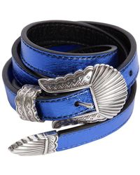 KATE CATE - 15mm Thin Kim Metallic Leather Belt - Lyst