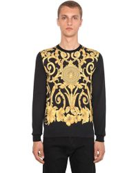 Versace - Gold Hibiscus Printed Silk Sweater - Lyst