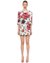 Dolce & Gabbana - Floral Printed Cady Mini Dress - Lyst