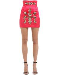 Stefano De Lellis - Embellished Satin Mini Skirt - Lyst
