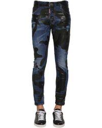 DSquared² - 17cm Camo Tidy Biker Cotton Denim Jeans - Lyst