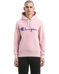 Champion - Hooded Logo Cotton Sweatshirt - Lyst