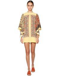 Etro - Printed Silk Twill Mini Dress - Lyst