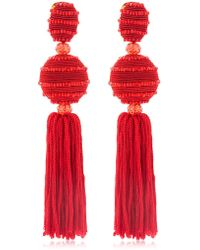 Oscar de la Renta - Horizontal Beaded Silk Tassel Earrings - Lyst