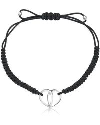 Montblanc - Cord Bracelet With Silver Heart - Lyst