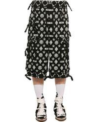 KTZ - Monogram Print Cotton Gabardine Shorts - Lyst