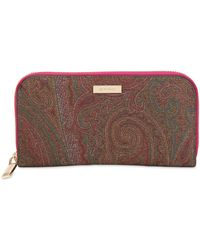 Etro - Paisley Faux Leather Zip Around Wallet - Lyst