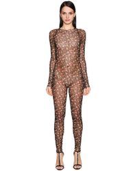 DSquared² - Flowers Printed Tulle Stretch Jumpsuit - Lyst