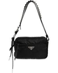 Prada - Nylon Camera Bag W/ Studded Strap - Lyst